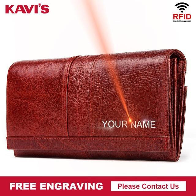 KAVISฟรีแกะสลักของแท้หนังผู้หญิงกระเป๋าสตางค์หญิงHasp Portomoneeคลัทช์กระเป๋าเงินผู้หญิงที่มีประโยชน์สาวยาว