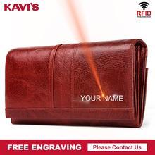 KAVIS cuir véritable pour femmes, portefeuille en cuir véritable gravure gratuite, porte monnaie, loquet poromonee, pochette, sac à argent pour femmes, Long et pratique