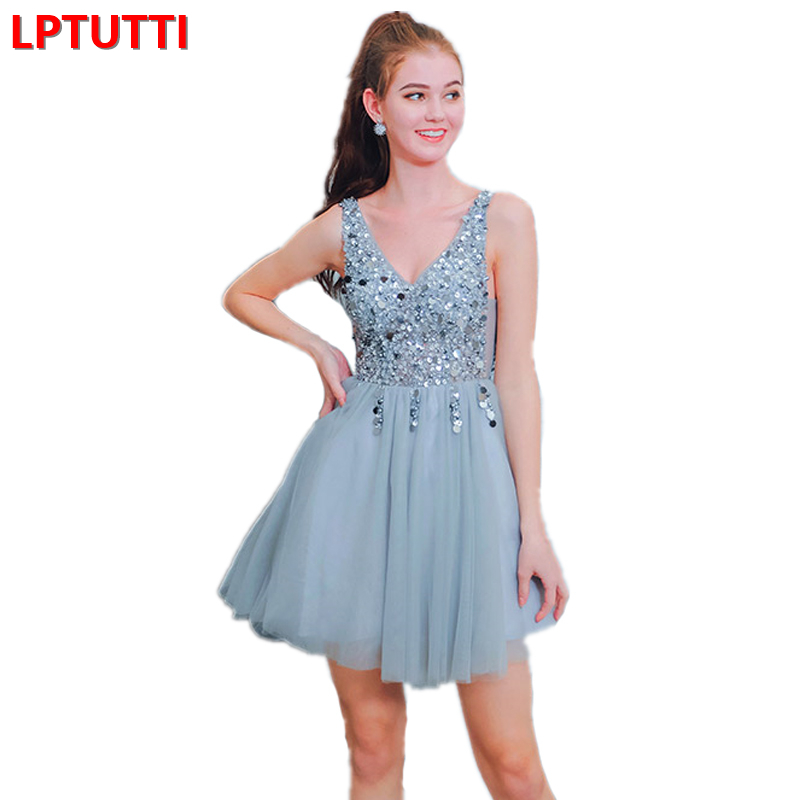 LPTUTTI Sequin Beading New Sexy Woman Social Festive Elegant Formal Prom Party Gowns Fancy Short Luxury Cocktail Dresses