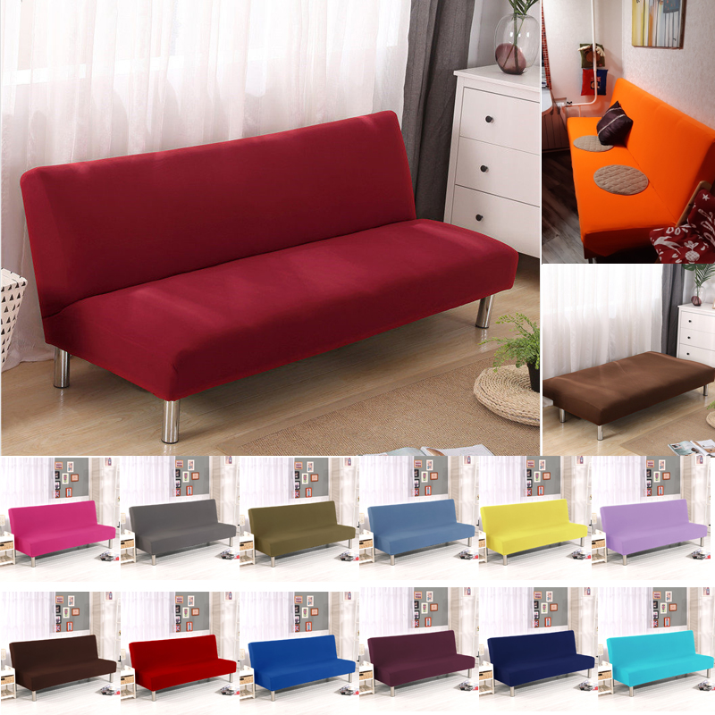 Solid Color Folding Sofa Bed Cover Sofa Covers Spandex Stretch Elastic Material Double Seat Cover Slipcovers For Living Room