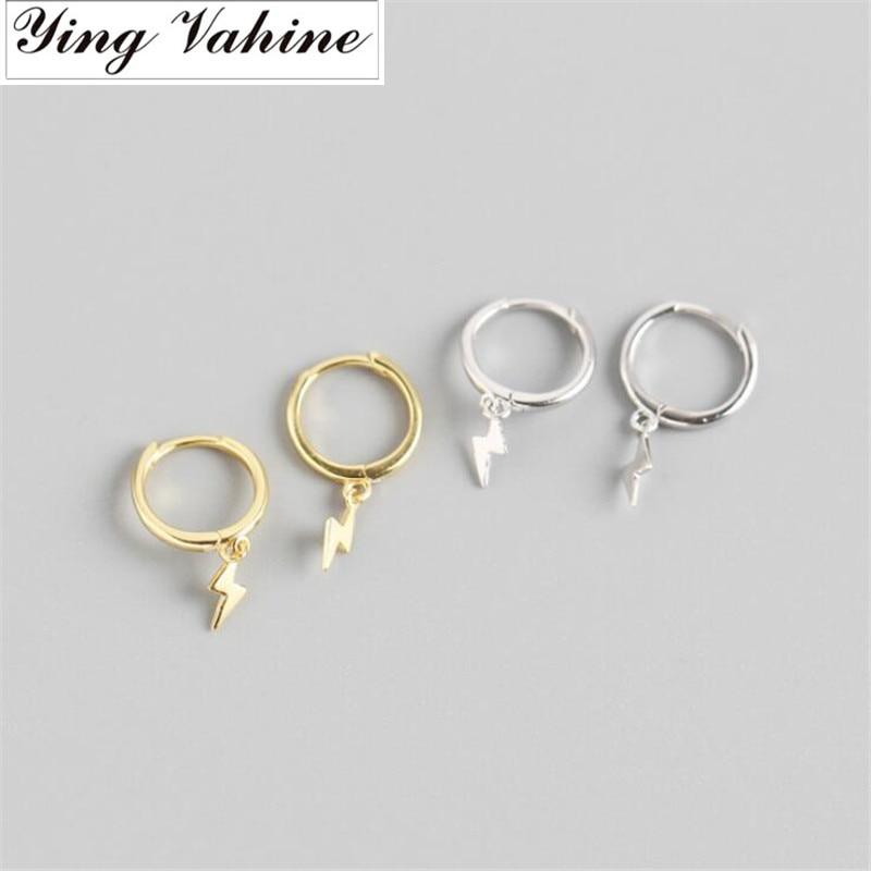 Ying Vahine 100% 925 Sterling Silver Mini Lightning Pendant Stud Earrings For Women