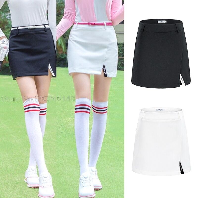 Women's Golf Skirt Elastic Slim Girls Skirts Ladies Mid-Waist Golf Tennis Sportswear Badminton Skort Breathable Split Mini Dress