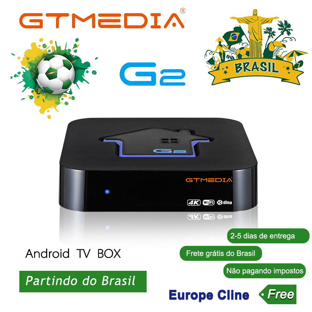 Brazilian IPTV GTMEDIA G2 TV Box+IPTV Server 4K HDR Android 7.1 Ultra HD 2G 16G WIFI Google Cast Netflix IPTV TV BOX PK HTV 5