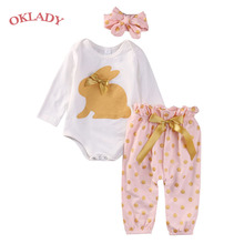 OKLADY Newborn Baby Girl Winter Clothes Set  Rabbit Print Cute Girl Clothes Infant Bebe Girl Clothing Fall Romper Pants Headband 2016 winter baby girl newborn cotton padded clothes sets character outerwear pants infant bebe girls casual clothing set