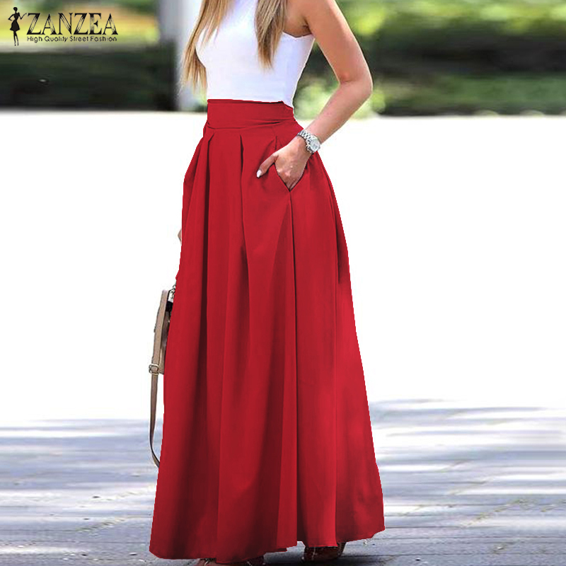 2021 Summer Skirts ZANZEA Elegant Women High Waist Long Skirts Casual Solid Pleated Maxi Skirt Work OL Skirt Jupe Faldas Saia