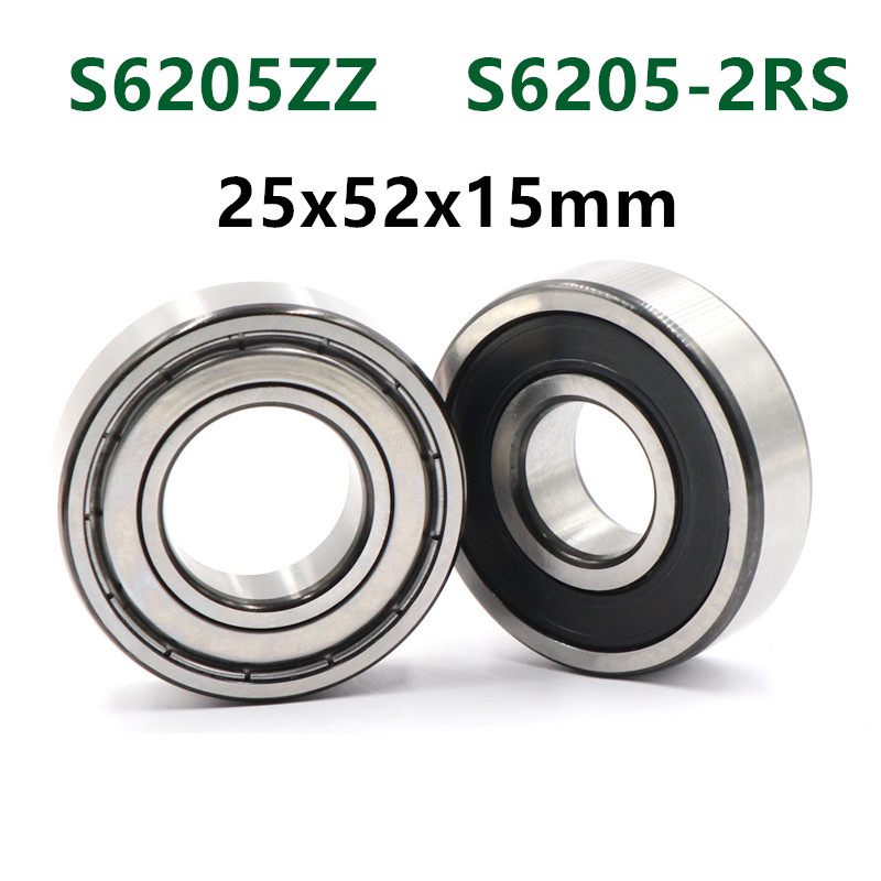 10pcs/lot  S6205ZZ S6205-2RS Stainless Steel 440C Deep Groove Ball Bearing 25*52*15 Mm 6205 S6205 2Z 2RS 25x52x15 Bearings