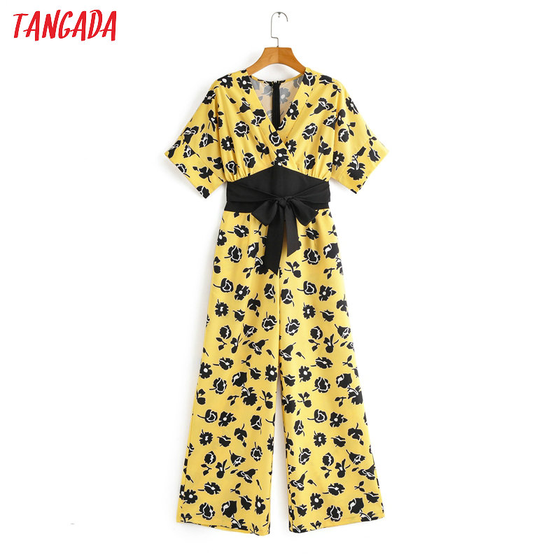 Tangada Women Summer Floral Print Yellow Jumpsuit With Slash Short Sleeve Back Zipper Female Casual Beach Jumpsuit 2F03