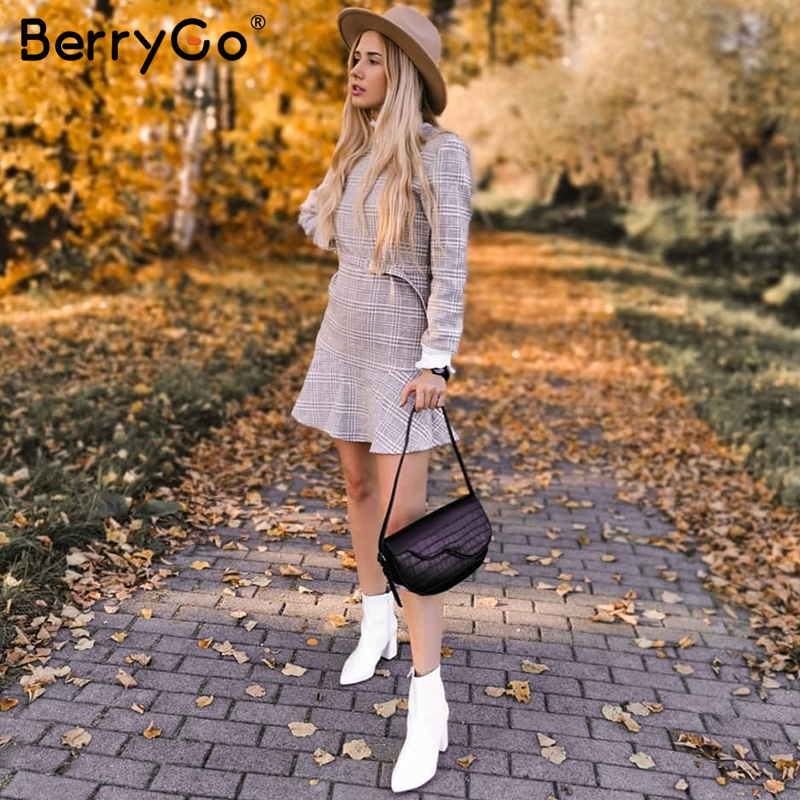 Image 5 - BerryGo Winter plaid mini dresses women Turtle neck tweed short dress female Vintage ruffle sash autumn office ladies vestidosDresses   -