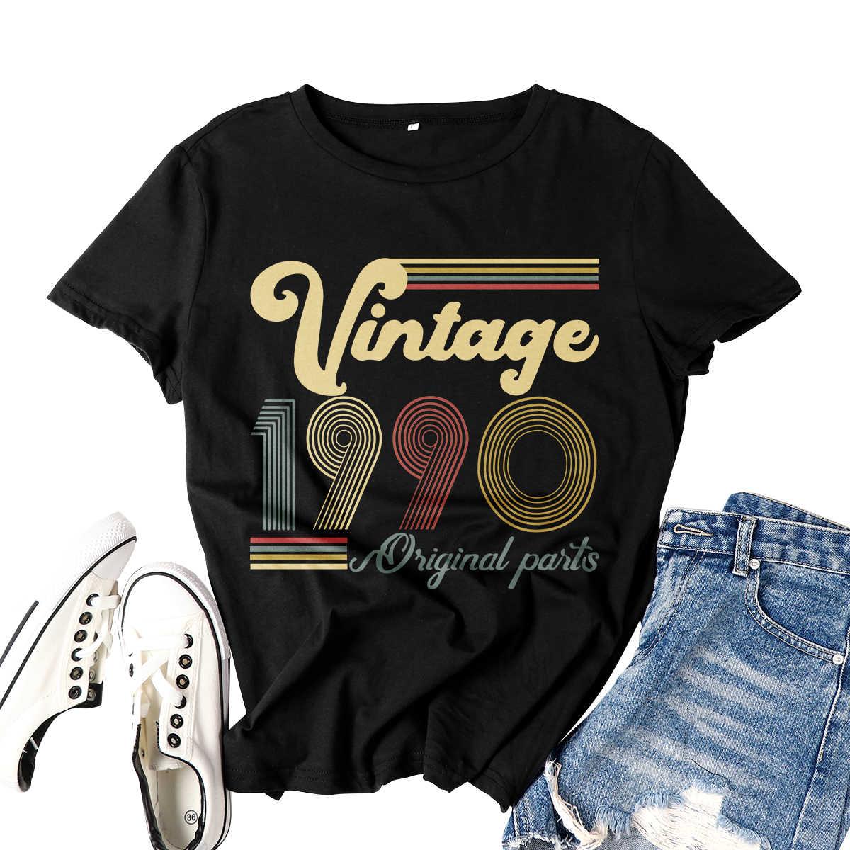 30 번째 생일 선물 여성 Tshirt 레트로 생일 빈티지 1990 오리지널 파트 Femme 의류 반소매 티셔츠