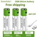 Литий-ионная батарея аа с быстрой зарядкой, 1,5 в, емкость 3800 мАч, USB перезаряжаемая литиевая USB батарея для игрушечной клавиатуры