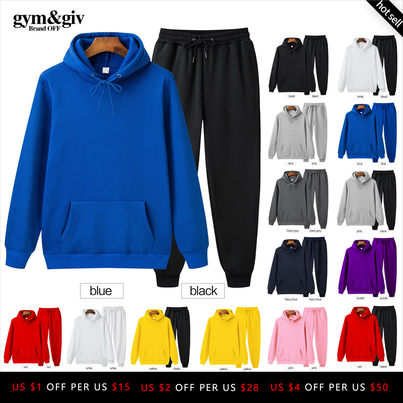 Hot Two Pieces Set Fashion Hooded Sweatshirt Men's Sportswear Hoodie Autumn Men's Hoodie + Pants Sets