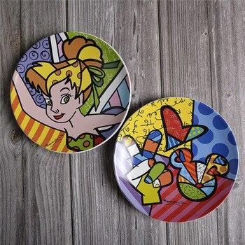 8,5 pulgadas dos tipos de estilo Disney adhesivos de placa de cerámica pintado plato cena plato esmaltado de color de la vajilla del hogar W101