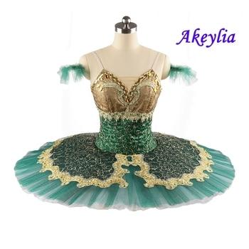 Soloist Esmeralda YAGP Classical Pancake Tutu professional Ballet Dress green gold handmade red Adult For Girl