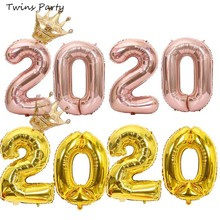 Twins Party 2020 Balloons Christmas Decorations Celebration Happy New Year Globos  Eve 2019 Merry Decor