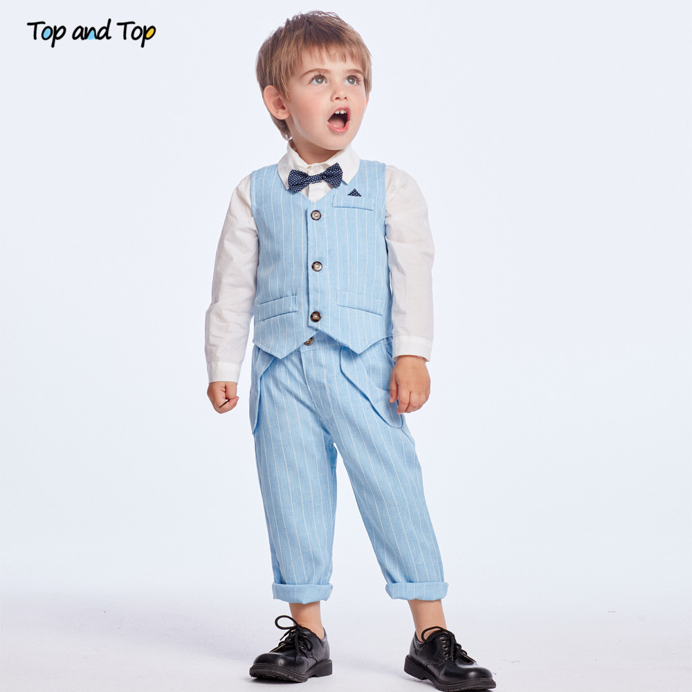 Top and Top Spring&Autumn Baby Boy Gentleman Suit White Shirt with Bow Tie+Striped Vest+Trousers 3Pcs Formal Kids Clothes Set 3