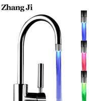 ZhangJi LED Luminous Faucet Tap Nozzle RGB Color Light Blinking Temperature Aerator Water Saving Kitchen Bathroom Accessories