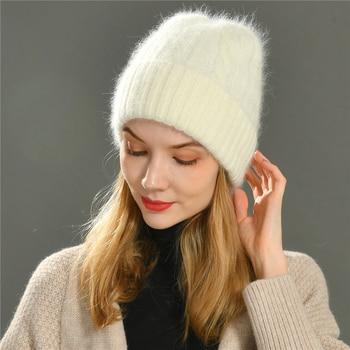 Female Cashmere Blend Winter Hat Long Fur Warm Soft Wool Knitted Hats Women Skullies Beanies Wholesale - discount item  52% OFF Hats & Caps