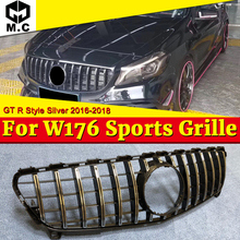 W176 GTS Style Grille ABS Silver Front Bumper Grill Fits for Mecedes Benz A180 200 250 A45 Without sign 16+