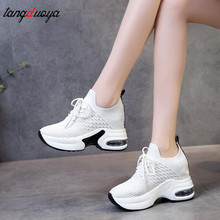 New Women Summer Mesh Platform Sneakers Trainers White Shoes High