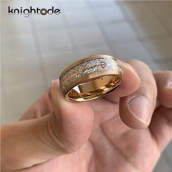 Meteorite Arrow Inlay oro rosa carburo de tungsteno anillo de boda banda hombres mujeres anillo de compromiso de moda anillo Domo acabado cepillado
