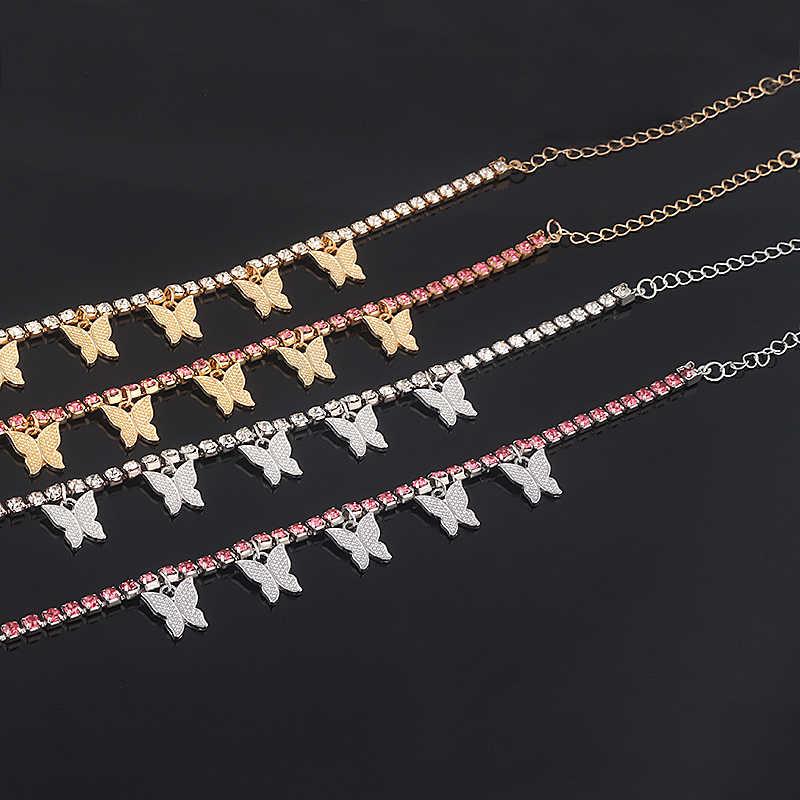 Collier papillon en cristal brillant pour femmes, chaîne de Tennis, ras du cou scintillante, bijou à pendentif, 2020