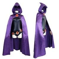 Teen Titans Raven Cosplay Costume Superhero Cloak Jumpsuits Zentai Halloween