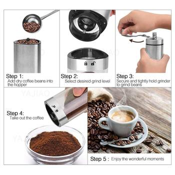 YAJIAO Portable Manual Coffee Grinder Transparent Stainless Steel Hand Crank Coffee Machine for Travel, Camping, Backpacking 2