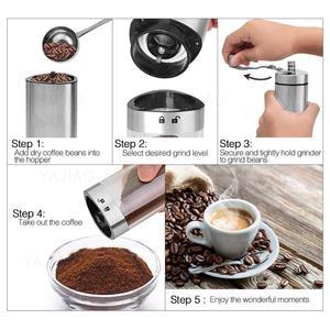Image 2 - Yajiaoポータブル手動コーヒーグラインダー透明ステンレス鋼ハンドクランクコーヒーマシンのための旅行、キャンプ、バックパッキング、