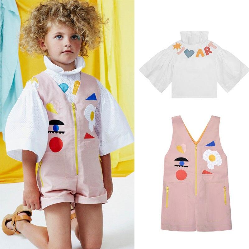 Где купить Стильные розовые комбинезоны и блузка для девочек; сезон весна-лето; Модная одежда для малышей; Детские брендовые комбинезоны