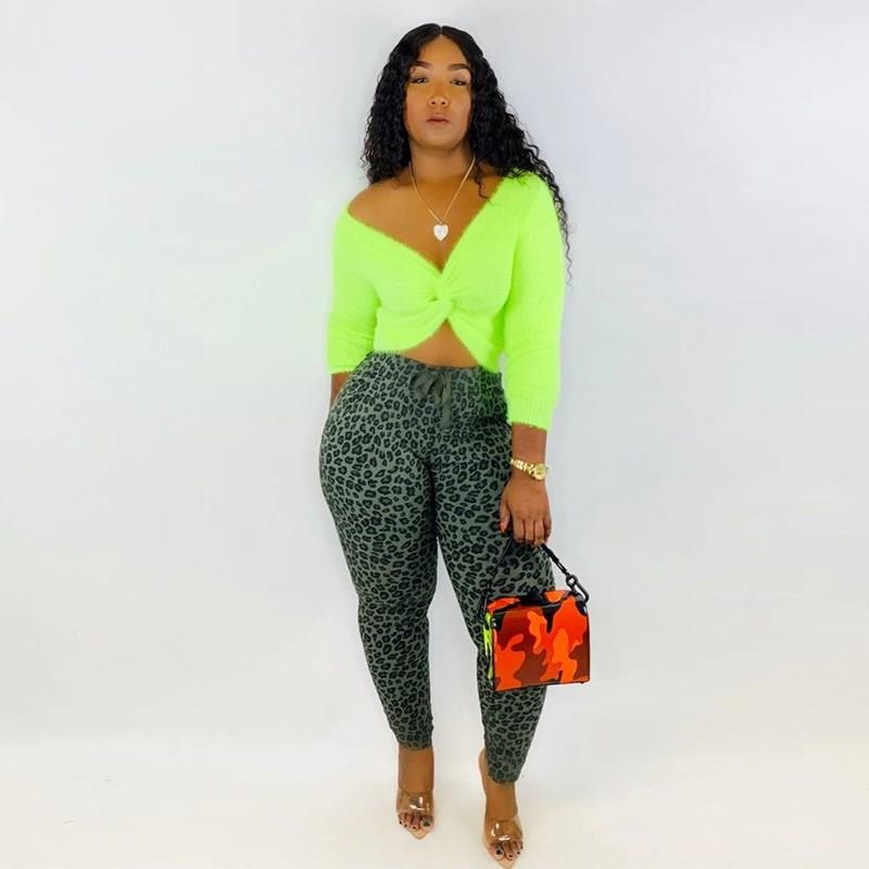 Neon Causal Plus Size Backless Two Piece Set Sexy  Club Women Off Shoulder Crop Tops And Leopard Pencil Pants Matching Sets
