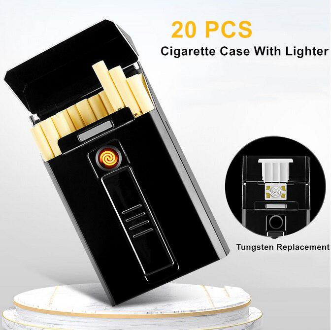 Portable Cigarette Boxes Case Electric Lighter USB Windproof Flameless Charging Cigarette Electronic Lighter No Gas For Men