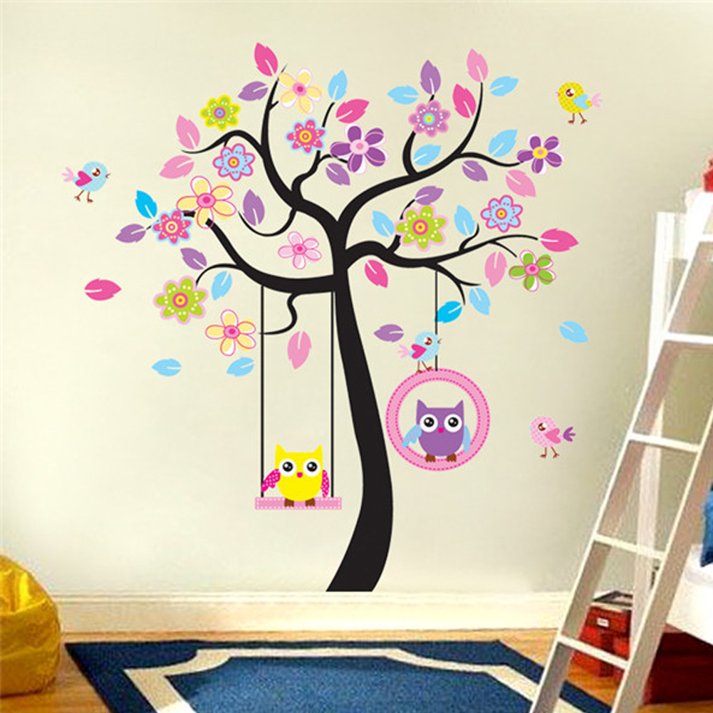 Kids Room Wallpaper Beautiful Owls On Swing Colorful Trees Removable Wall Stickers Living Room Decorative Wall Stickers