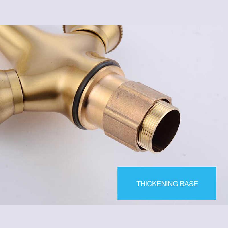 Grifo lavabo banheiro retro torneira dupla alça de ouro bacia pia torneiras misturadoras escovado único furo bronze filtro torneira
