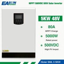 EASUN 전원 Soalr 인버터 5000W 500Vdc 순수 사인파 MPPT 80A 48V 220V 그리드 5Kva 60A 배터리 충전기