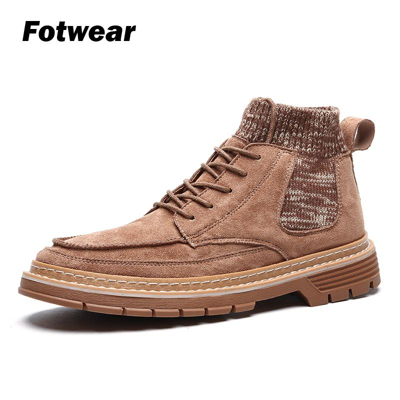 Men socks like boots Men Retro boots Casual shoes With padded collar and molded rubber outsole Lace up outdoor durability boots