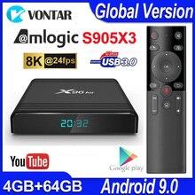 X96 에어 TV 박스 안드로이드 9.0 최대 4 기가 바이트 64 기가 바이트 Amlogic S905X3 스마트 TV 박스 4K TV 안드로이드 박스 X96Air 쿼드 코어 2.4G 및 5G 와이파이 BT4.1 H.265