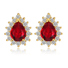 цена на Fashion Gold/Silver Red Waterdrop Crystal Zircon Stud Earrings for Women Party Banquet Jewelry Gift