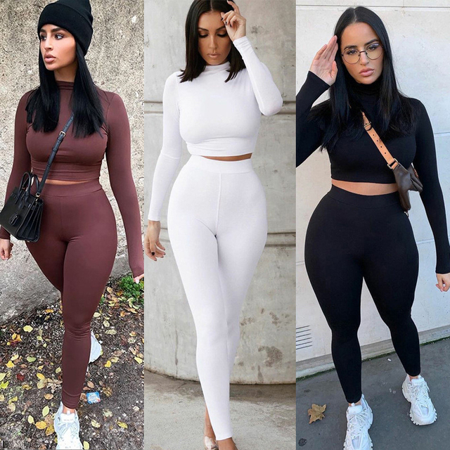 Two Piece Sets Women Solid Autumn Tracksuits High Waist Stretchy Sportswear Hot Crop Tops And Leggings Matching Outfits 1