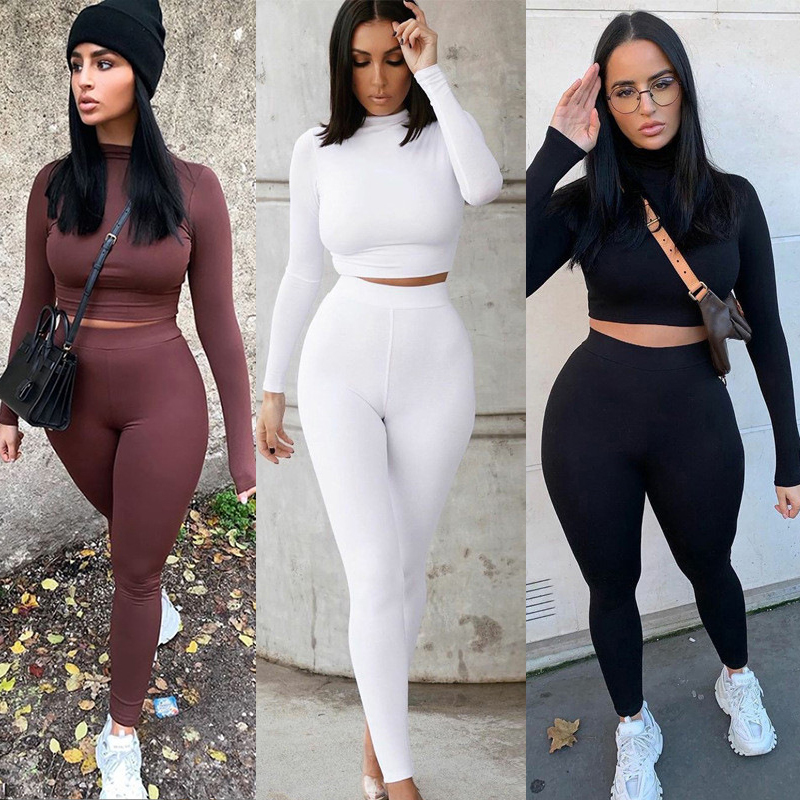 Conjuntos de dos piezas para mujer, chándales sólidos de otoño, ropa deportiva elástica de cintura alta, Tops cortos y Leggings a juego