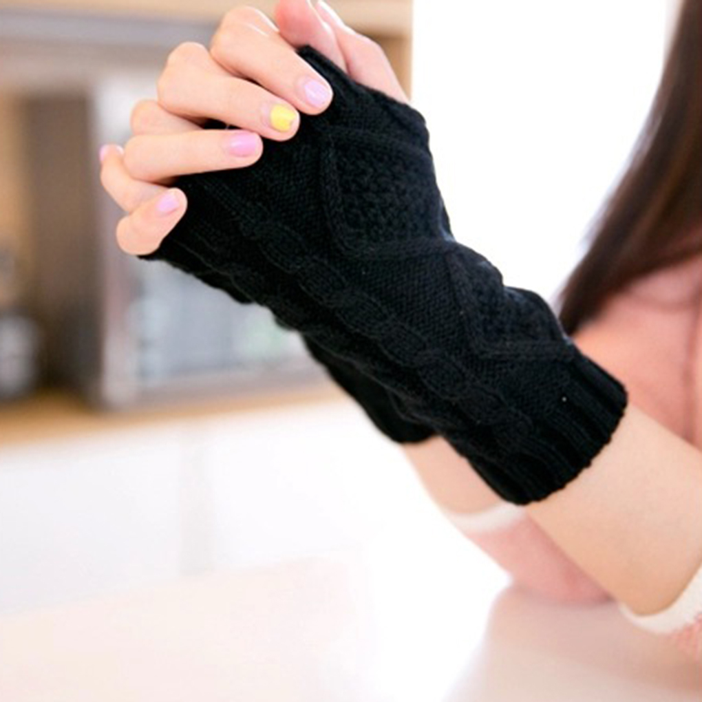Hot Sale Women Wool Mitten Warm Fingerless Gloves Hand Warmer Winter Women Arm Crochet Knitting Faux Gloves Portable Gants Femme