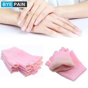 1 par byepain algodão luvas hidratantes metade dedo cura pele seca e mãos rachadas luvas hidratantes reutilizáveis (rosa)