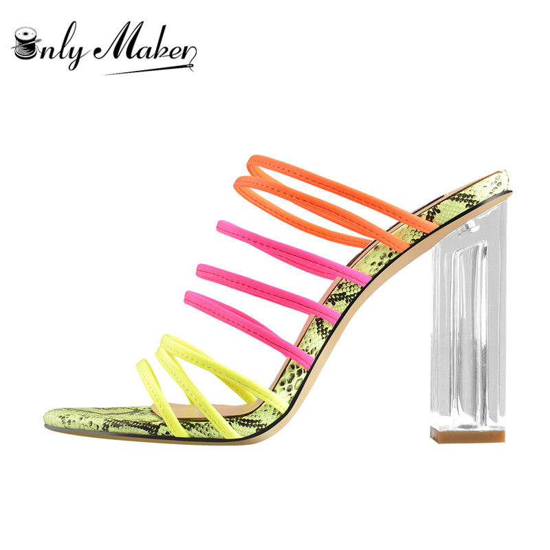 Onlymaker Women's Fashion Fluorescent Elastic Multicolored Snakeskin Slip-on Sandals Clear Square Heel  Shoes For Summer
