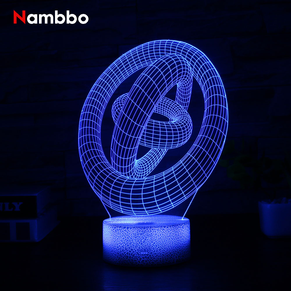 Abstract Circle 3D Lamp LED 7 Colors Vision Decoration Touch Table Lamp USB White Crack Base Night Light Magical Holiday Gift