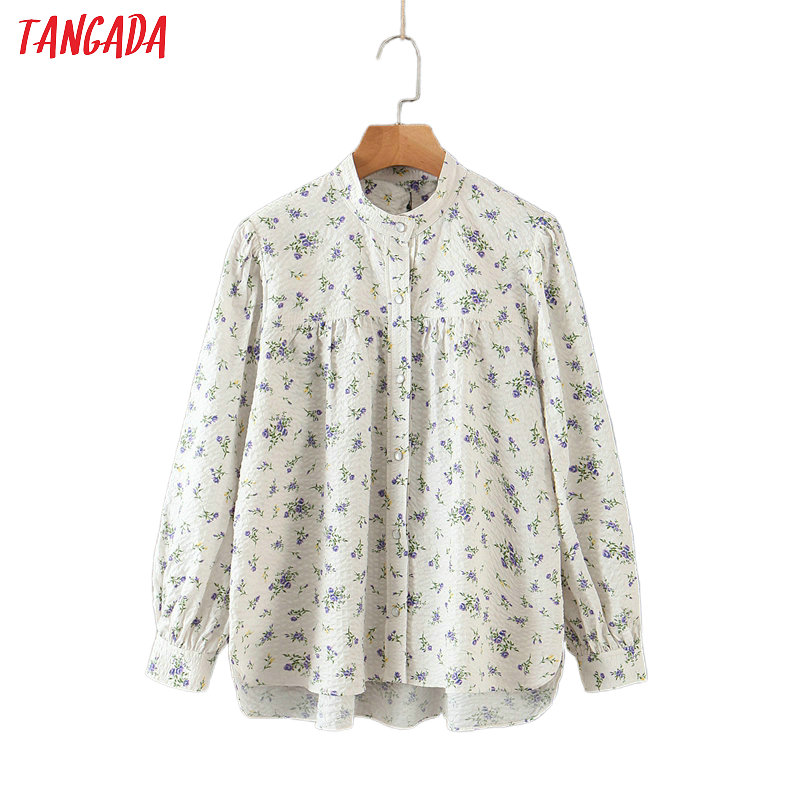 Tangada Women Oversized Floral Print Blouse Puff Long Sleeve Chic Female Casual Loose Shirt Blusas Femininas QB107