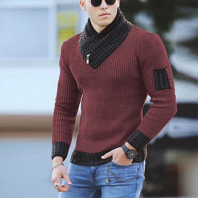 Men Casual Long Sleeve Scarf Collar Streetwear Autumn Fashion Slim Men Knitted Sweaters New Winter Warm Turtleneck Pullover Tops