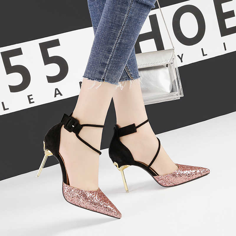 sandaly damskie high heels sexy bling party sandals women shoes stiletto pointed toe sapatos feminino shallow sandal NO.55 Shoes