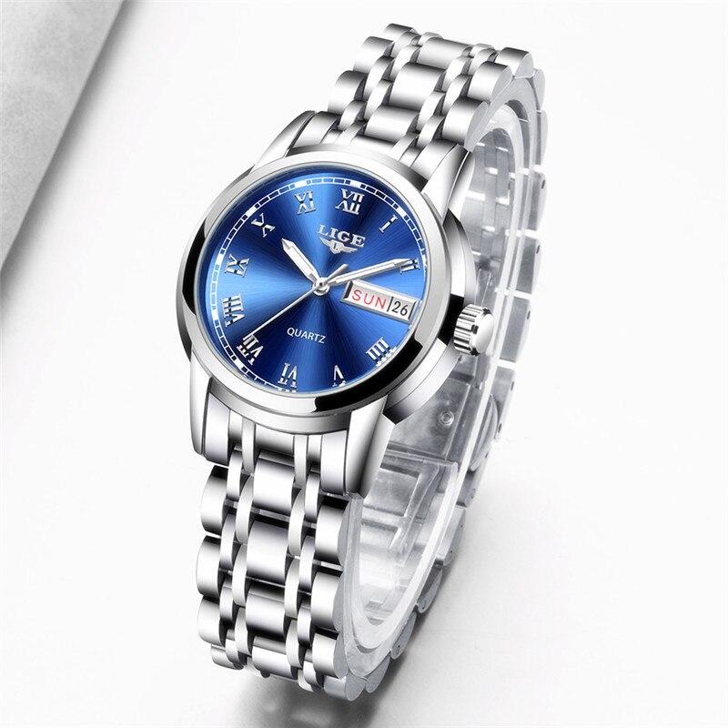 Image 3 - LIGE Fashion Watch Women Quartz Womens Watches Luxury Top Brand Date Week Stainless Steel Female Dress Clock relogio femininoWomens Watches   -