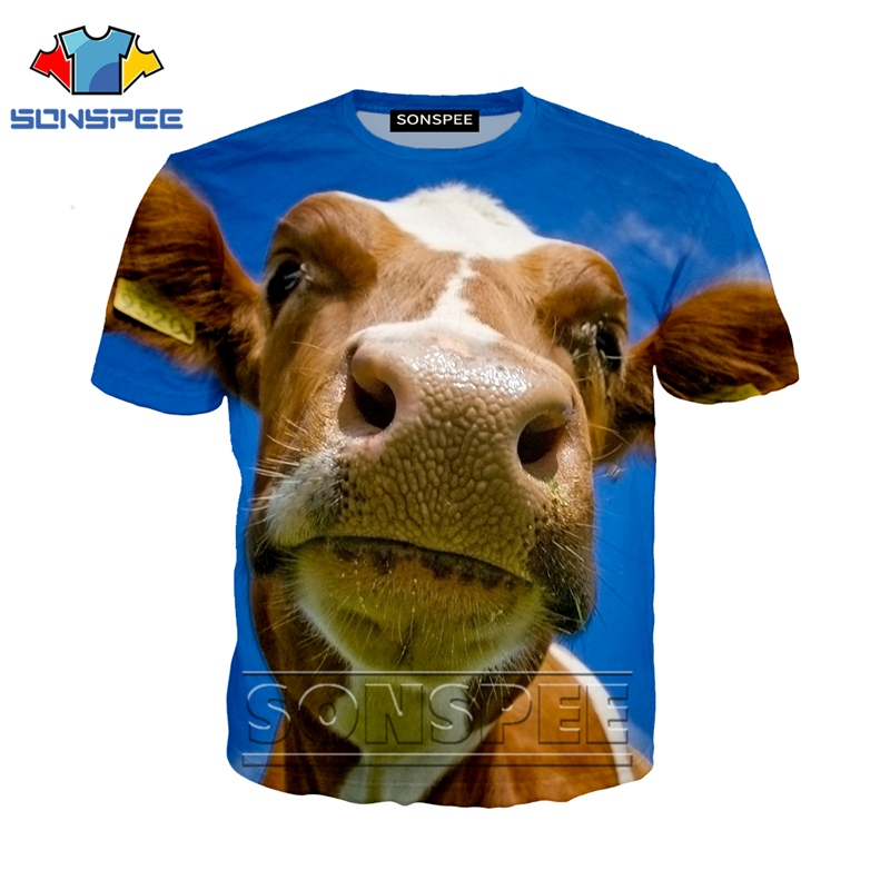 Anime 3d print <font><b>t</b></font> <font><b>shirt</b></font> <font><b>cow</b></font> face streetwear animal horse Men Women fashion <font><b>t</b></font>-<font><b>shirt</b></font> kids Harajuku Cattle <font><b>shirts</b></font> homme tshirt A89 image