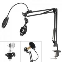 Multifunções suporte de microfone à prova de choque com dupla camada microfone pop filtro e mesa clipe para transmissão ao vivo|Acessórios de microfone| |  -