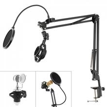 Multifunction Shockproof Microphone Holder Bracket with Double Layer Microphone Pop Filter and Table Clip for Live Broadcast